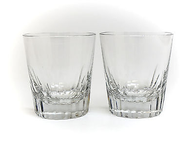 Pair of Baccarat Old Fashioned Art Glass Tumbler Glasses in Spear,  Hand Cut