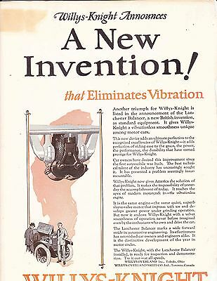 1924 OLD MAGAZINE PRINT AD , WILLYS-KNIGHT LANCHESTER BALANCER--TOLEDO OHIO