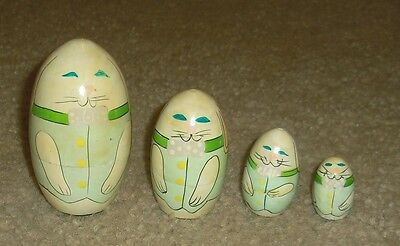 Vintage Easter Bunny Rabbit Family Wooden Nesting / Stacking Dolls Set of 4