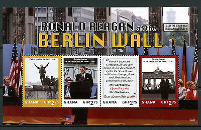 Ghana 2014 MNH Fall Berlin Wall 25th 4v M/S I Ronald Reagan US Presidents Stamps