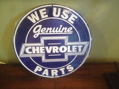 """Metal Sign Round 12"""" official WE USE genuine CHEVROLET PARTS chevy~Free Shipping"""