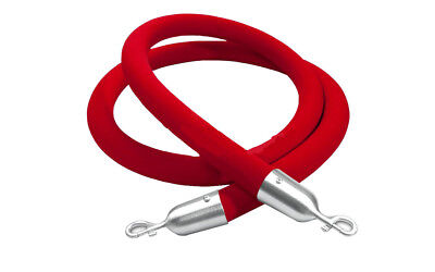 "12004-9-RED Crowd Control Stanchion Queue Barrier Post 60"" Red Velvet Rope 12004"