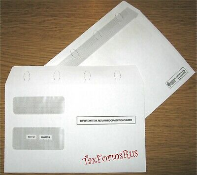 "50/pk ~ 1099 ENVELOPES for 2-up tax forms 8-3/4""x5-5/8"" Self-Seal #7777-2 DWMRS"