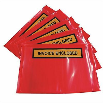 100x Self Adhesive Packaging Envelope Invoice Enclosed Red Backing 165 x 115mm