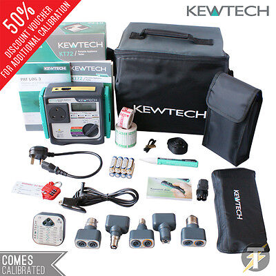 Kewtech KT72 Battery Operated PAT Tester Kit C+ Accessories + CALIBRATION + Case