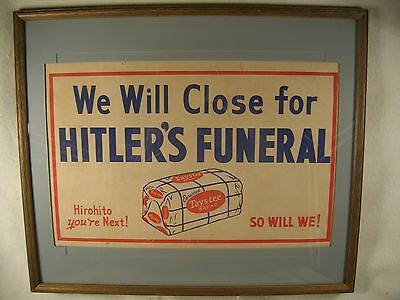 """1945 WW II Taystee Bread Print We Will Close for Hitler's Funeral Framed  25"""""""