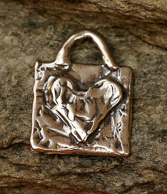Artisan Rustic Sterling Silver Heart on a Square Charm