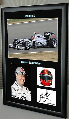 "Michael Schumacher F1 Mercedes Framed Canvas Signed Print ""Great Gift"""
