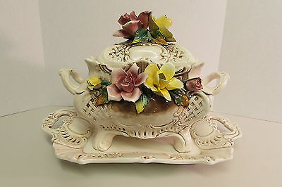 Rare BASSANO Italy Porcelain Capodimonte Soup Tureen Set with Flowers - No Reser