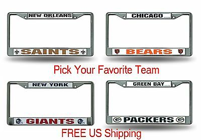 NFL Chrome Metal License Plate Frame PICK YOUR TEAM Car Auto Truck