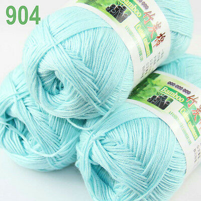 3 balls Soft Natural Smooth Bamboo Cotton Yarn Knitting Baby blue 904 SALE