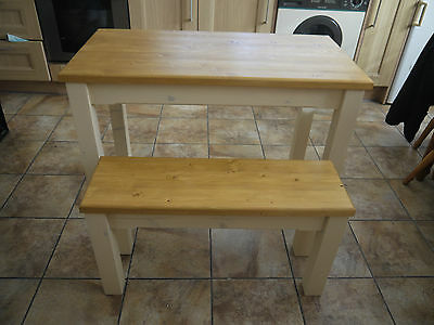 Wooden Farmhouse Kitchen Dining Table And 2 Bench Set sturdy and Solid