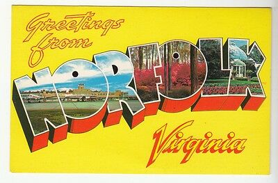 [52281] Old Large Letter Postcard Greetings From Norfolk, Virginia