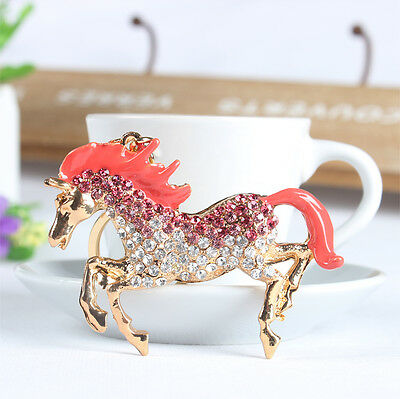 Lovely Pink Horse Run Gallop Rhinestone Crystal Pendent Charm Key Chain New Gift