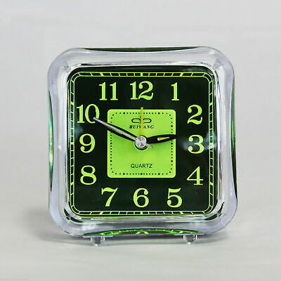 Clear Minimalist Analog Alarm Clock Analogue Battery Desktop Table Bedside Fluro