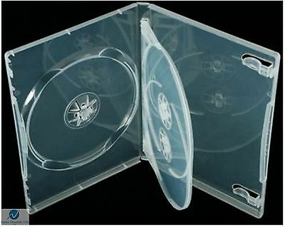 5 x Triple Clear DVD 14mm Spine Holds 3 Discs Empty New Replacement Case Regular