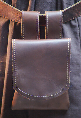 Medieval-Larp-Sca-Re enactment DARK BROWN LEATHER MERCHANT Hang from Belt Bag