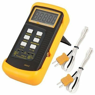 6802 II Dual Channel Digital Thermometer with 2 K-Type Thermocouple Sensor Probe