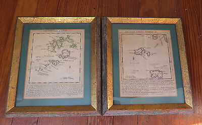 PAIR EARLY 1700's MAPS ISLES of SCILLY & ISLANDS of JERSEY & GUERNSEY