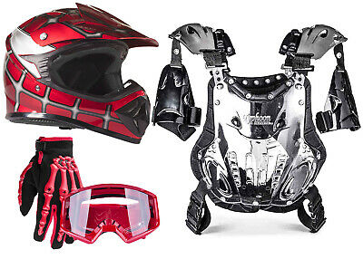 Youth PeeWee Motocross ATV Gear Combo Helmet Gloves Goggles Chest Protector Red
