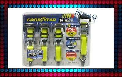 "Goodyear Heavy Duty Set of 4 Snap-On 1-1/2"" Ratchet Tie Down Straps NEW!!!"