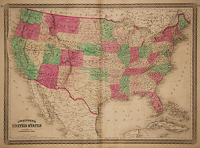 1870 Genuine Antique Hand Colored Map of the United States. Johnson