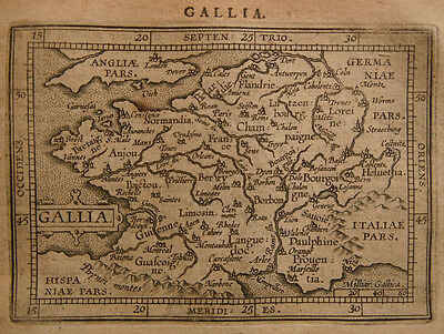 1609 Genuine Antique miniature map of France. Ortelius