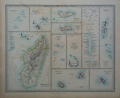1847 Genuine Antique hand colored map of Islands in the Indian Ocean. SDUK