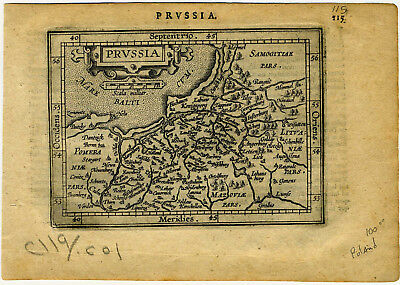1609 Genuine Antique miniature map of Poland on the Baltic Sea. Ortelius