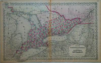 c.1860s Genuine Antique map Dominion of Canada, Ontario. Hand colored. Colton