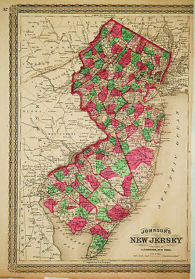 1870 Genuine Antique Hand Colored Map of New Jersey. Johnson