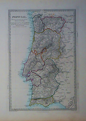 1847 Genuine Antique hand colored map of  Portugal. SDUK