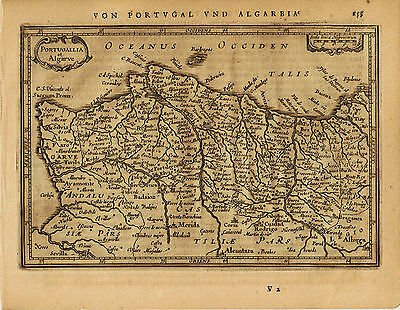 1651 Genuine Antique map of Portugal. Jansson