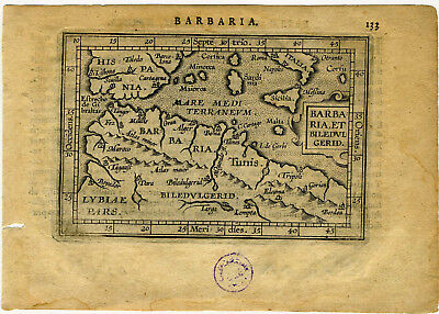 1609 Genuine Antique miniature map Barbaria, Barbary coast, N. Africa. Ortelius