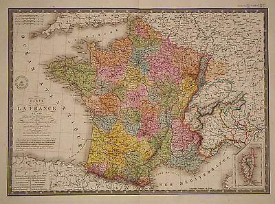 1827 Genuine Antique hand colored map of France in 1789. by A.H. Brue