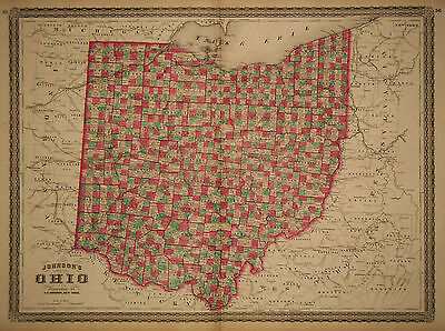 1870 Genuine Antique Hand Colored Map of Ohio. Johnson