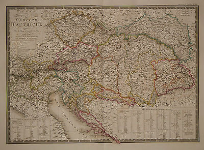 1827 Genuine Antique hand colored map of the Austrian Empire.  A.H. Brue