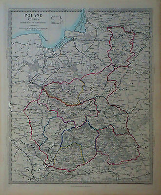 1847 Genuine Antique hand colored map of Poland in ten governments. SDUK