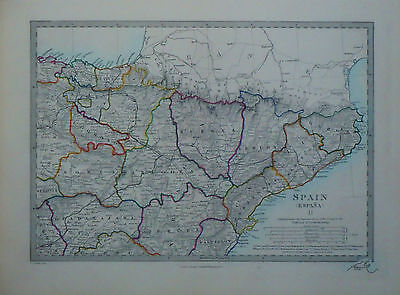 1847 Genuine Antique hand colored maps of Spain, 3 pc set . SDUK