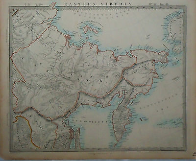 1847 Genuine Antique hand colored map of Siberia. 3 page set. SDUK