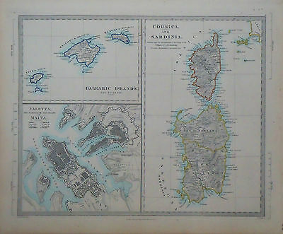 1847 Genuine Antique map of Corsica, Sardinia, Valetta, Balearic Islands. SDUK
