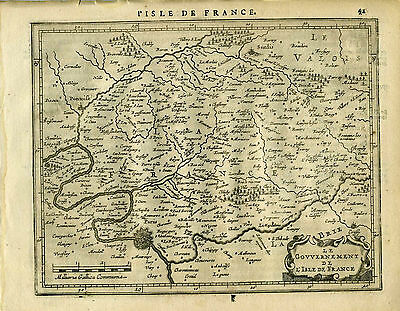 1651 Genuine Antique map of area around Paris, France. Mercator Jansson