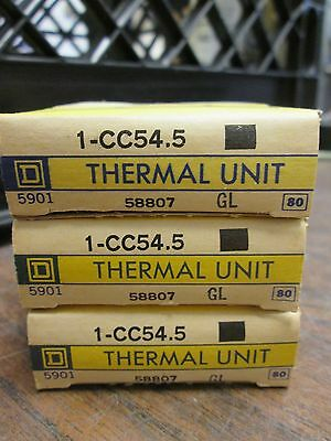 Square D Overload Relay Thermal Unit CC54.5 Lot of 3 New Surplus
