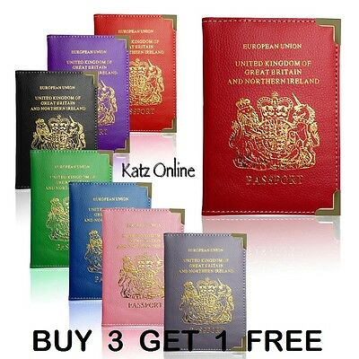 Katz UK & European British Passport Holder PU Leather Protector Cover Wallet B3