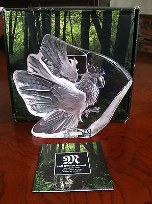 SIGNED MATS JONASSON Swedish Crystal ROOSTER Art Glass #33709, New in Box