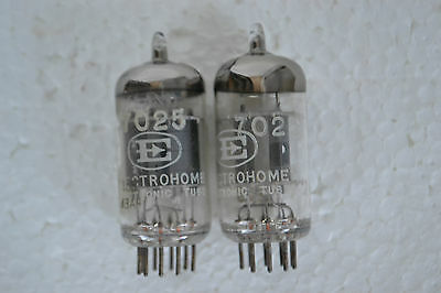 2 MATCHING VINTAGE AMPEREX ELECTROHOME 7025 TUBES, MADE IN HOLLAND, TEST STRONG