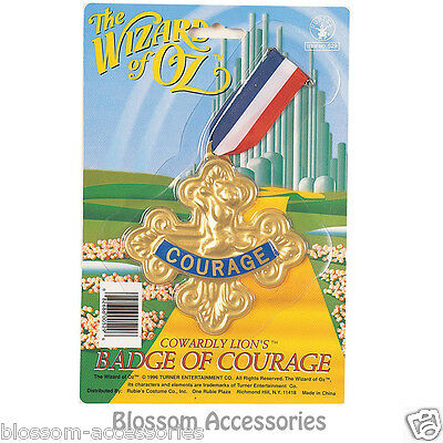 A348 Wizard of Oz Cowardly Lion Badge Of Courage Book Week Costume Accessory