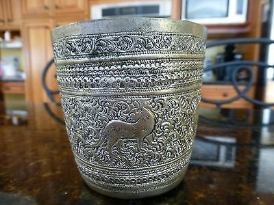 Vintage Cup Silver Aluminum Folk art Hand made hammered Asian Chinese Zodiac