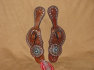 Showman Youth Size Tooled Leather Western Spur Straps BLUE CRYSTAL RHINESTONES