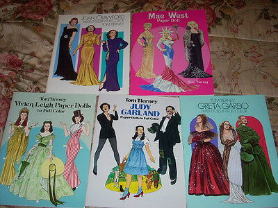 Paper Doll Books Vintage-look Reproduction Lot of 5 Movie Stars Actresses UNCUT
